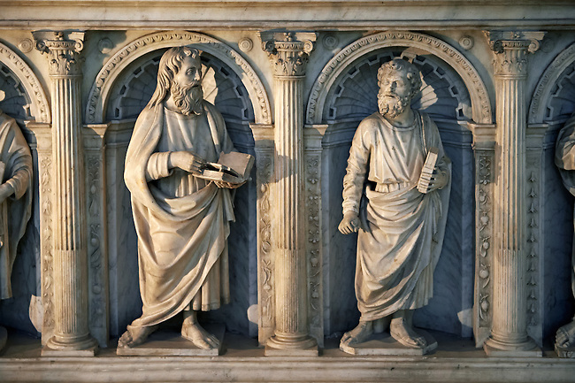 Side panels of the Renaissance style Tomb of  Valentine Visconti duchesse d?orleans  built by Italian craftsmen in 1504.. The Gothic Cathedral Basilica of Saint Denis ( Basilique Saint-Denis ) Paris, France. A UNESCO World Heritage Site.