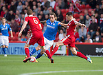 Aberdeen v St Johnstone...31.08.13      SPFL<br /> Stevie May is blocked out by Mark Reynolds and Joe Shaughnessy<br /> Picture by Graeme Hart.<br /> Copyright Perthshire Picture Agency<br /> Tel: 01738 623350  Mobile: 07990 594431