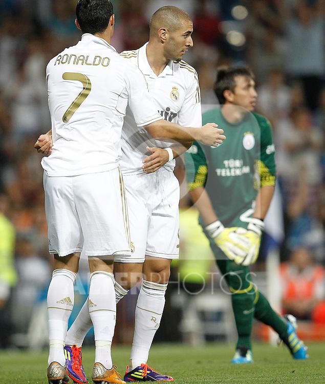 Real Madrid's Karim Benzema celebrates goal with Cristiano Ronaldo during Santiago Bernabeu Cup on august 24th 2011...Photo: Cesar Cebolla / ALFAQUI