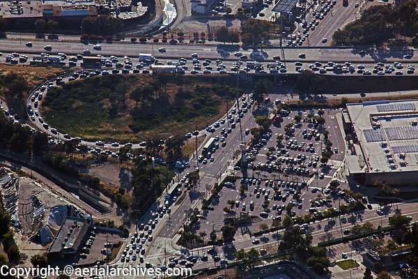 aerial photograph of heavy traffic at a freeway on ramp, Los Angeles, California