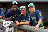 Vermont Lake Monsters Lawrence Butler, Dustin Harris, Shane Selman (L-R) before a NY-Penn League game against the Aberdeen IronBirds on August 19, 2019 at Leidos Field at Ripken Stadium in Aberdeen, Maryland.  Aberdeen defeated Vermont 6-2.  (Mike Janes/Four Seam Images)