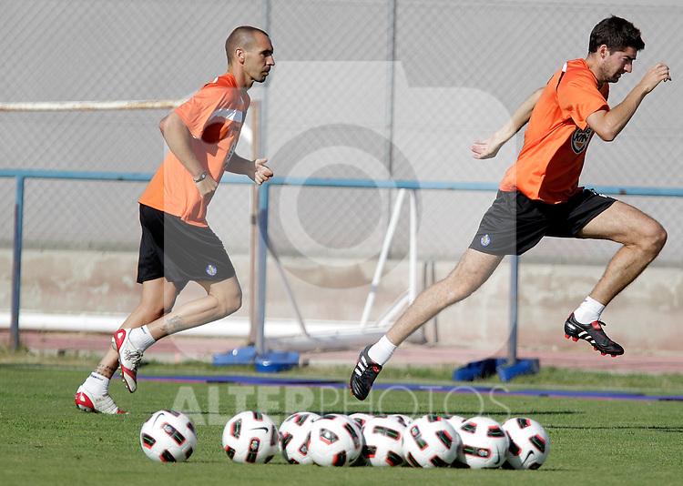 Getafe's Borja Fernandez and Javier Arismendi during trainning session. July 21, 2010. (ALTERPHOTOS/Alvaro Hernandez)