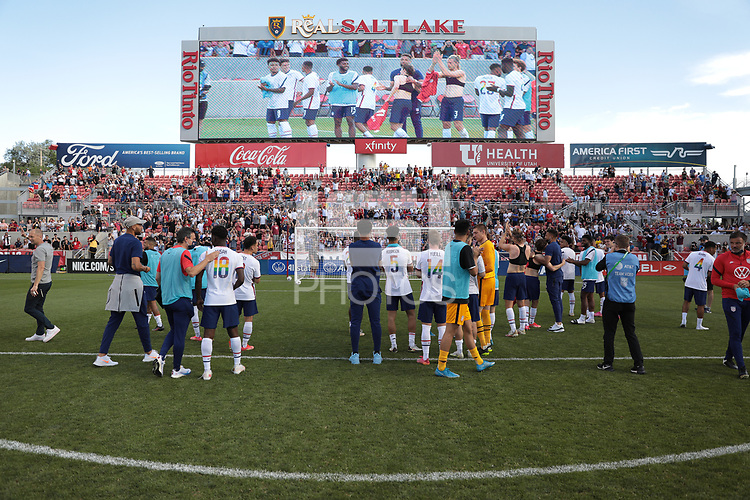SANDY, UT - JUNE 10: The United States celebrate during a game between Costa Rica and USMNT at Rio Tinto Stadium on June 10, 2021 in Sandy, Utah.