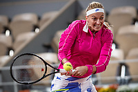 28th September 2020, Roland Garros, Paris, France; French Open tennis, Roland Garros 2020;  Petra KVITOVA CZE plays a backhand during her match against Oceane DODIN FRA in the Philippe Chatrier court on the first round of the French Open tennis tournament