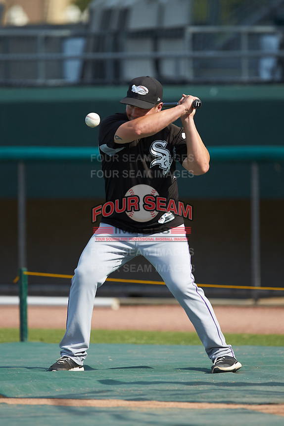 Winston-Salem Dash manager Justin Jirschele (9) hits fungos during infield practice prior to the game against the Down East Wood Ducks at Grainger Stadium on May 17, 2019 in Kinston, North Carolina. The Dash defeated the Pelicans 8-2. (Brian Westerholt/Four Seam Images)