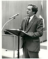 Le Ministre de la Justice Marc-Andre Bedard, le 7 septembre 1983.<br /> <br /> PHOTO : Agence Quebec Presse