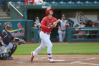 Springfield Cardinals Nolan Gorman (26) hits a home run during a game against the Arkansas Travelers on June 8, 2021 at Hammons Field in Springfield, Missouri.  (Travis Berg/Four Seam Images)