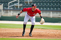 Kannapolis Intimidators first baseman Danny Hayes (32) on defense against the Hickory Crawdads at CMC-Northeast Stadium on April 9, 2014 in Kannapolis, North Carolina.  The Intimidators defeated the Crawdads 1-0.  (Brian Westerholt/Four Seam Images)