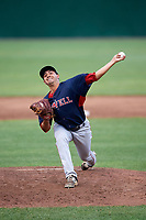 Lowell Spinners relief pitcher Rio Gomez (47) delivers a pitch during a game against the Auburn Doubledays on July 13, 2018 at Falcon Park in Auburn, New York.  Lowell defeated Auburn 8-5.  (Mike Janes/Four Seam Images)