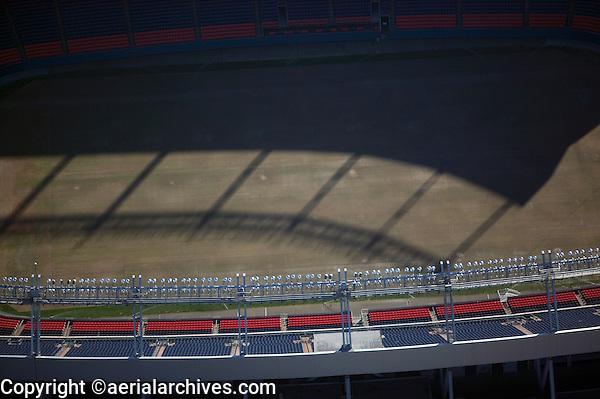 aerial photograph of stadium lighting top of INVESCO Field at Mile High Denver, Colorado