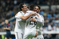 Real Madrid´s Jese Rodriguez celebrates a goal with Isco (R) and Alvaro Arbeloa (L) during Spanish King Cup match between Real Madrid and Cornella at Santiago Bernabeu stadium in Madrid, Spain.December 2, 2014. (NortePhoto/ALTERPHOTOS/Victor Blanco)
