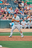 Ty France (25) of the El Paso Chihuahuas on defense against the Salt Lake Bees at Smith's Ballpark on August 13, 2018 in Salt Lake City, Utah. Salt Lake defeated El Paso 4-3. (Stephen Smith/Four Seam Images)