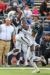 Nevada wide receiver Jerico Richardson (84) drops a pass under pressure by Hawaii defender Ne'Quan Phillips (1) during the second half of an NCAA college football game in Reno, Nev., on Saturday, Oct. 24, 2015. (AP Photo/Cathleen Allison)