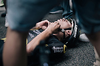 directly after winning stage 8 Lilian Calmejane (FRA/Direct Energie) collapses to the ground after the finish line with cramps<br /> <br /> 104th Tour de France 2017<br /> Stage 8 - Dole › Station des Rousses (187km)