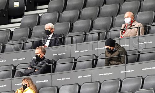 16th May 2020, Signal Iduna Park, Dortmund, Germany; Bundesliga football, Borussia Dortmund versus FC Schalke;  Hans-Joachim Aki Watzke , BVB Externer Berater , Matthias Sammer , Liga president , Dr. Reinhard Rauball all in masks in the stands
