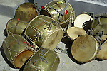 A selection of drums used during festivals and celebrations in the Kullu Valley, Himachal Pradesh, India.