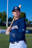 AZL Brewers Blue Anderson Melendez (5) poses for a photo before an Arizona League game against the AZL Athletics Gold on July 2, 2019 at American Family Fields of Phoenix in Phoenix, Arizona. AZL Athletics Gold defeated the AZL Brewers Blue 11-8. (Zachary Lucy/Four Seam Images)