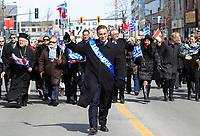Le Liberal Leo Housakos<br />  au defile de la Fete national grecque<br /> , le 29 mars 2015<br /> <br /> PHOTO :  Agence Quebec Presse