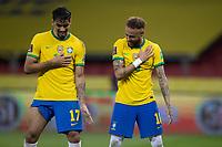 4th June 2021; Beira-Rio Stadium, Porto Alegre, Brazil; Qatar 2022 qualifiers; Brazil versus Ecuador; Neymar of Brazil celebrates his penalty kick goal with Lucas Paquetá in the 94th minute 2-0