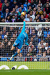 Goalkeeper Thibaut Courtois of Real Madrid saves the ball during the La Liga 2018-19 match between Real Madrid and Real Valladolid at Estadio Santiago Bernabeu on November 03 2018 in Madrid, Spain. Photo by Diego Souto / Power Sport Images