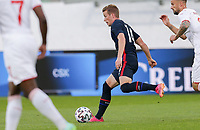 ST. GALLEN, SWITZERLAND - MAY 30: Jackson Yueill #14 of the United States passes off the ball during a game between Switzerland and USMNT at Kybunpark on May 30, 2021 in St. Gallen, Switzerland.