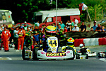 A young Lewis Hamilton leading karting rival Michael Conway at the British Championships at Buckmore Park in 1995.