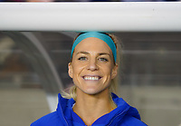 HOUSTON, TX - JANUARY 31: Julie Ertz #8 of the United States smiles for Brad during a game between Panama and USWNT at BBVA Stadium on January 31, 2020 in Houston, Texas.