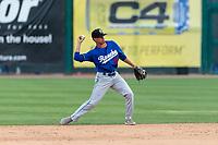 Rancho Cucamonga Quakes second baseman Moises Perez (50) during a California League game against the Visalia Rawhide on April 8, 2019 in Visalia, California. Rancho Cucamonga defeated Visalia 4-1. (Zachary Lucy/Four Seam Images)