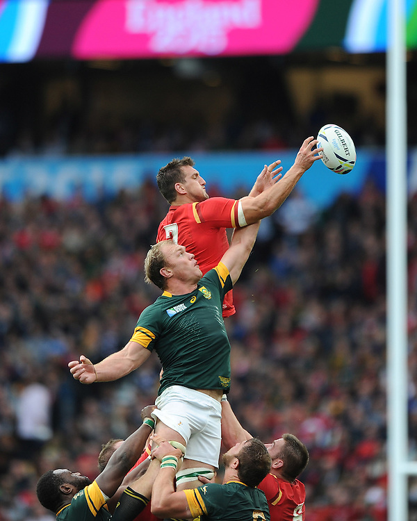 Sam Warburton of Wales competes with Schalk Burger of South Africa in the lineout during Match 41 of the Rugby World Cup 2015 between South Africa and Wales - 17/10/2015 - Twickenham Stadium, London<br /> Mandatory Credit: Rob Munro/Stewart Communications