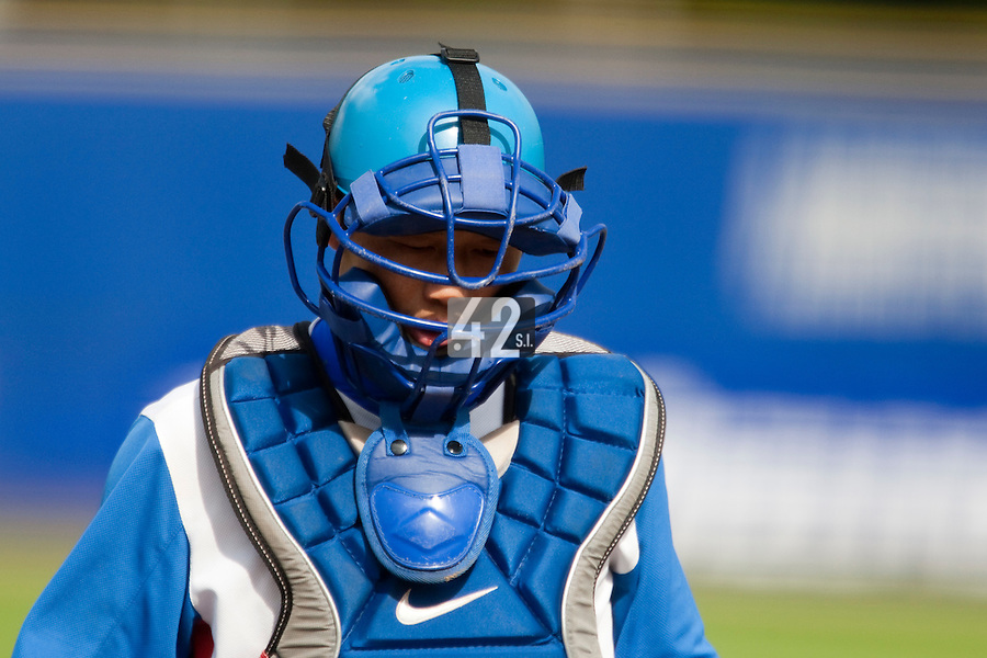 14 September 2009: Hee-Keun Lee of South Korea is seen catching during the 2009 Baseball World Cup Group F second round match game won 15-5 by South Korea over Great Britain, in the Dutch city of Amsterdan, Netherlands.