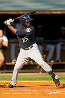 Reginald Lawson #25 of the Pulaski Mariners at bat against the Bluefield Blue Jays at Bowen Field on July 1, 2012 in Bluefield, West Virginia.  The Mariners defeated the Blue Jays 4-3.  (Brian Westerholt/Four Seam Images)