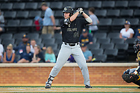 Gavin Sheets (24) of the Wake Forest Demon Deacons at bat against the West Virginia Mountaineers in Game Six of the Winston-Salem Regional in the 2017 College World Series at David F. Couch Ballpark on June 4, 2017 in Winston-Salem, North Carolina.  The Demon Deacons defeated the Mountaineers 12-8.  (Brian Westerholt/Four Seam Images)