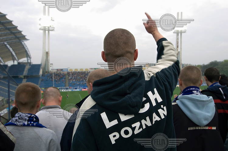 Supporters of the football club Lech Poznan. It is one of several clubs in Poland to have hooligan elements with links to far-right groups amongst its fans.