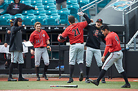 Brian Leonhardt (21) of the San Diego State Aztecs celebrates with teammates after hitting a two-run home run against the UNCG Spartans at Springs Brooks Stadium on February 16, 2020 in Conway, South Carolina. The Spartans defeated the Aztecs 11-4.  (Brian Westerholt/Four Seam Images)