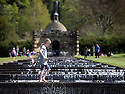 04/05/15<br /> <br /> A girl cools-off in the Cascade as people flock to enjoy the Bank Holiday Monday weather in the gardens of Chatsworth House, in the Derbyshire Peak District. <br /> <br /> All Rights Reserved - F Stop Press.  www.fstoppress.com. Tel: +44 (0)1335 418629 +44(0)7765 242650