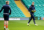 Celtic v St Johnstone…12.05.21  SPFL Celtic Park<br />Young goalkeeper Jack Wills who is on the bench for ton ight's game warm's up with Zdenek Zlamal<br />Picture by Graeme Hart.<br />Copyright Perthshire Picture Agency<br />Tel: 01738 623350  Mobile: 07990 594431
