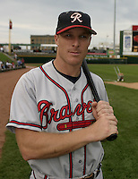 July 17, 2004:  Pete Orr of the Richmond Braves, Triple-A International League affiliate of the Atlanta Braves, during a game at Frontier Field in Rochester, NY.  Photo by:  Mike Janes/Four Seam Images