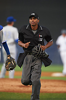 Umpire Edwin Moscoso during a game between the Dunedin Blue Jays and Tampa Yankees on April 19, 2016 at George M. Steinbrenner Field in Tampa, Florida.  Tampa defeated Dunedin 12-7.  (Mike Janes/Four Seam Images)