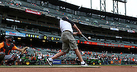 SAN FRANCISCO, CA - AUGUST 8:  KNBR radio personality Brian Murphy takes batting practice before the game between the Milwaukee Brewers and San Francisco Giants at AT&T Park on Thursday, August 8, 2013 in San Francisco, California. Photo by Brad Mangin