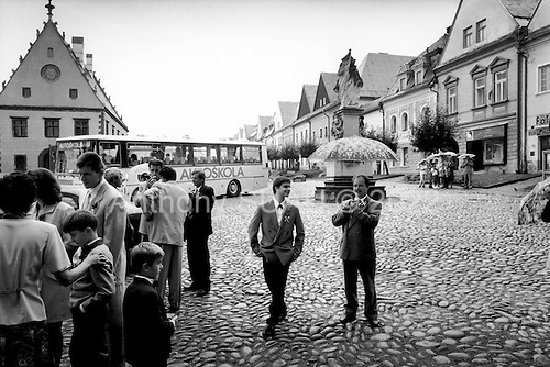Bardejov, Slovakia Republic.July 1997.A wedding in town square..
