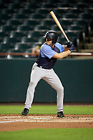 Trenton Thunder center fielder Jeff Hendrix (17) at bat during the second game of a doubleheader against the Bowie Baysox on June 13, 2018 at Prince George's Stadium in Bowie, Maryland.  Bowie defeated Trenton 10-1.  (Mike Janes/Four Seam Images)