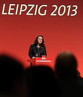 SPD Bundesparteitag im Congress Center Leipzig (CCL) an der Neuen Messe in Leipzig vom 14.11.-16.11.2013 - im Bild: SPD-Vize-Bundesvorsitzende und Genrealsekretärin Andrea Nahles während der Eröffnungsrede. <br />  Foto: Norman Rembarz