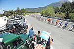 Locals cheer on the peloton during Stage 5 of the 2015 Presidential Tour of Turkey running 159.9km from Mugla to Pamukkale. 30th April 2015.<br /> Photo: Tour of Turkey/Mario Stiehl/www.newsfile.ie