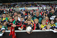 Wednesday, 23 April 2014<br /> Pictured: Supporters.<br /> Re: Swansea City FC are holding an open training session for their supporters at the Liberty Stadium, south Wales,