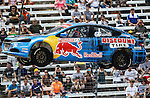 Travis Pastrana (199) driver of the Red Bull car, in action during the Global Rally Cross race, the Hoon Kaboom, at Texas Motor Speedway in Fort Worth,Texas. Global Rally Cross driver Marcos Gronholm (3) wins the Hoon Kaboom race..