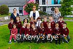 Holy Family NS junior infants with teachers Denise McGrath, Maria O'Regan (Principal) and Helen Heffernan