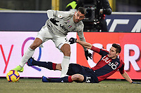 Leonardo Spinazzola of Juventus and Federico Mattiello of Bologna compete for the ball during the Italy Cup 2018/2019 football match between Bologna and Juventus at stadio Renato Dall'Ara, Bologna, January 12, 2019 <br />  Foto Andrea Staccioli / Insidefoto
