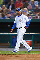 South Bend Cubs manager Jimmy Gonzalez (31) makes a pitching change during a game against the Cedar Rapids Kernels on June 5, 2015 at Four Winds Field in South Bend, Indiana.  South Bend defeated Cedar Rapids 9-4.  (Mike Janes/Four Seam Images)