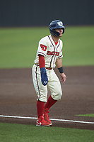 Mariano Ricciardi (1) of the Dayton Flyers takes his lead off of third base against the Campbell Camels at Jim Perry Stadium on February 28, 2021 in Buies Creek, North Carolina. The Camels defeated the Flyers 11-2. (Brian Westerholt/Four Seam Images)