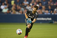 KANSAS CITY, KS - JULY 31: Jimmy Maurer #20 FC Dallas rolls out the ball during a game between FC Dallas and Sporting Kansas City at Children's Mercy Park on July 31, 2021 in Kansas City, Kansas.